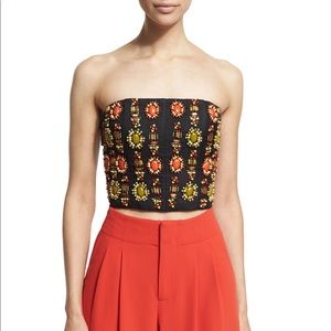 Alice and Olivia Beaded Cropped Saraphina Bustier